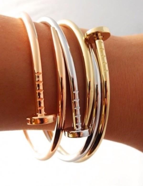 jewels gold&silver nail stud bangle