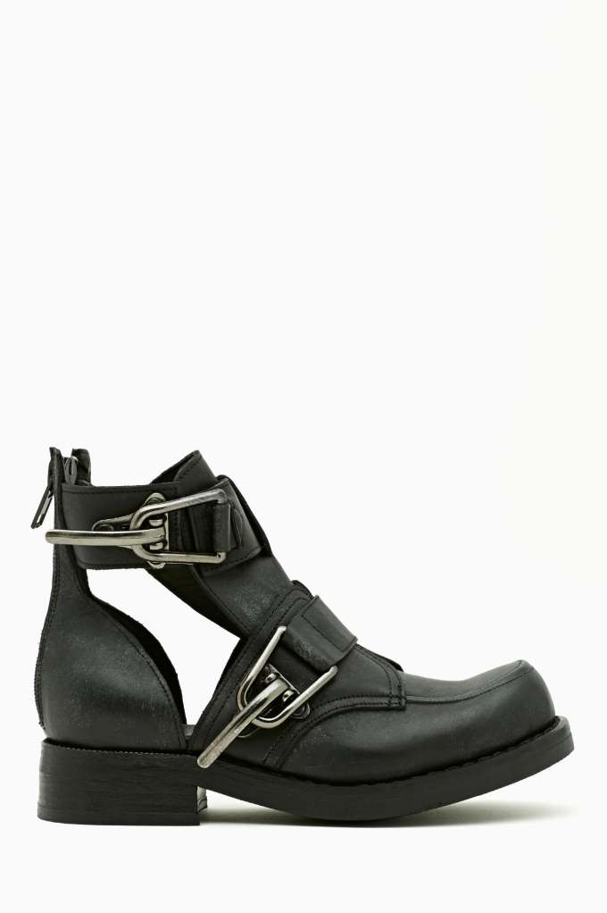 Jeffrey Campbell Roscoe Cutout Boot - Gunmetal  in  Shoes at Nasty Gal
