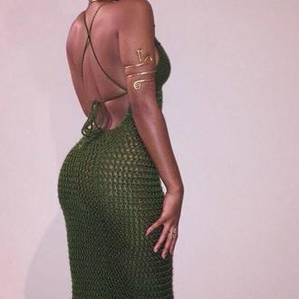 dress khaki green backless