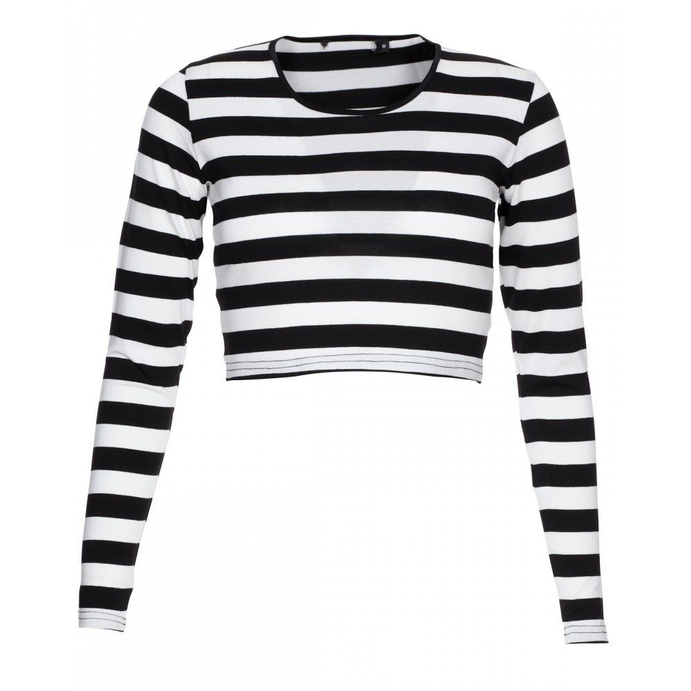 Innocence Womens Casual Long Sleeve Round Neck Stripe Midi Top Black White | eBay