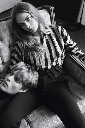 top stripes striped top cara delevingne pants sequins sequin shirt blouse