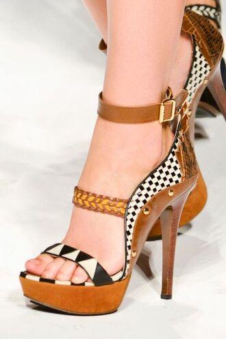 shoes wood platform heels wood leather brown gold polka dots zigzag aztec caramel camel