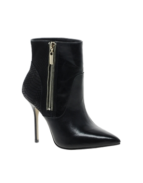 River Island   River Island Leather Point Zip Ankle Boots at ASOS