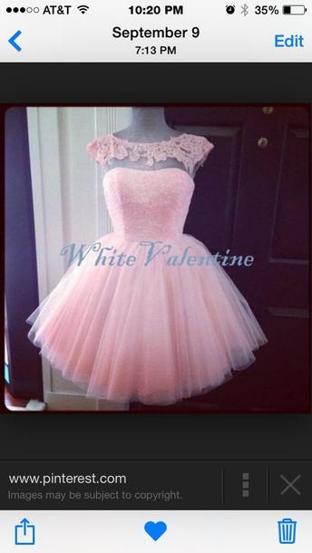 dress light pink short lace