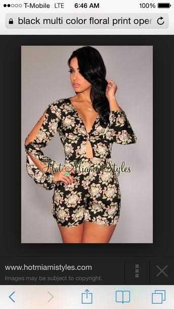 jumpsuit black floral jumpsuit