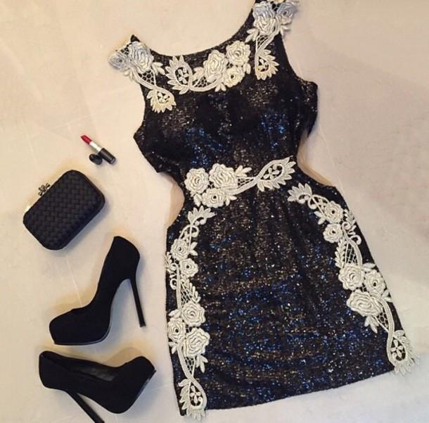 dress black shimmer short lace dress cocktail dress little black dress sexy dress classy dress