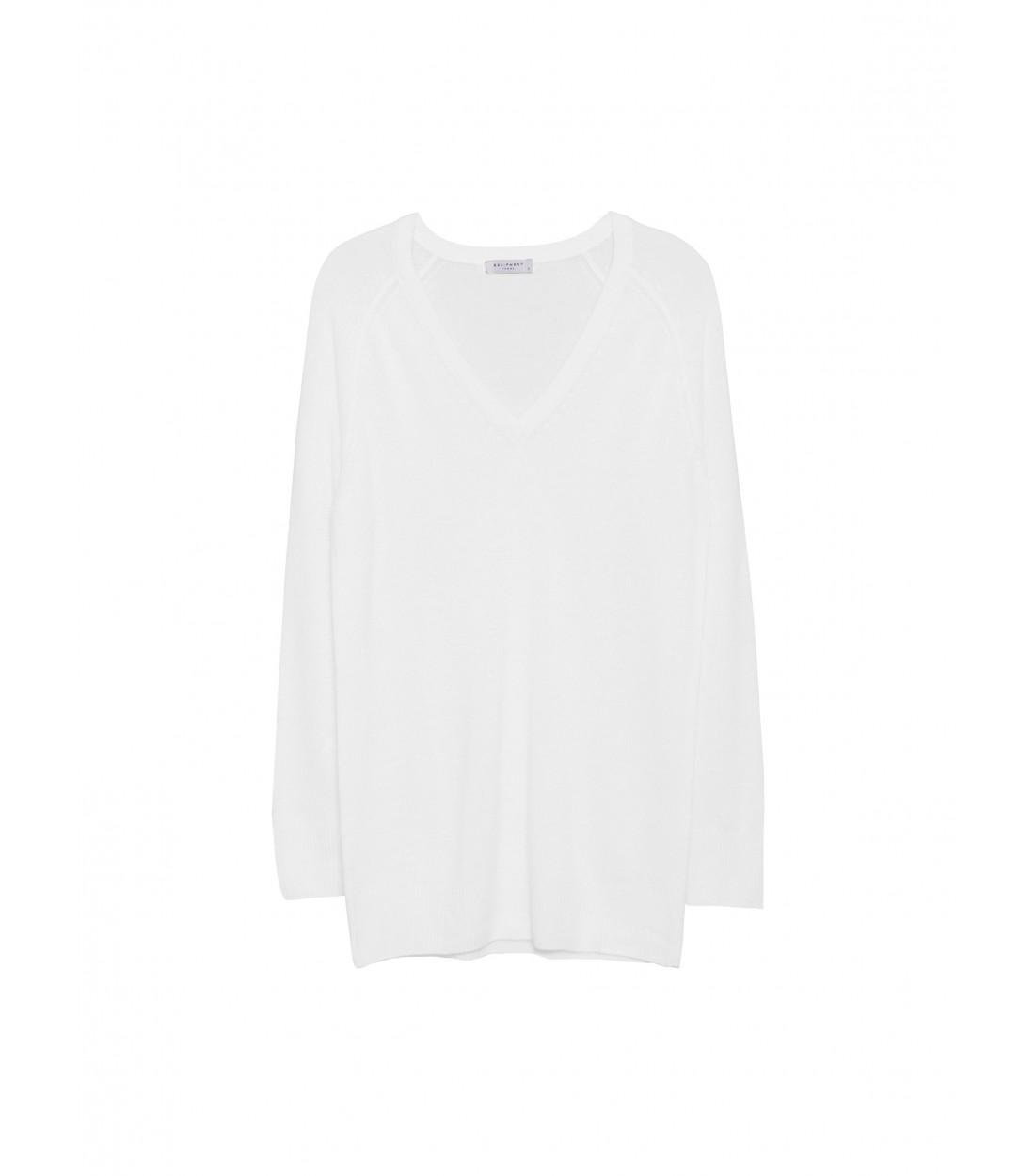 EQUIPMENT Asher V-Neck Ivory   Women's Cashmere Sweater