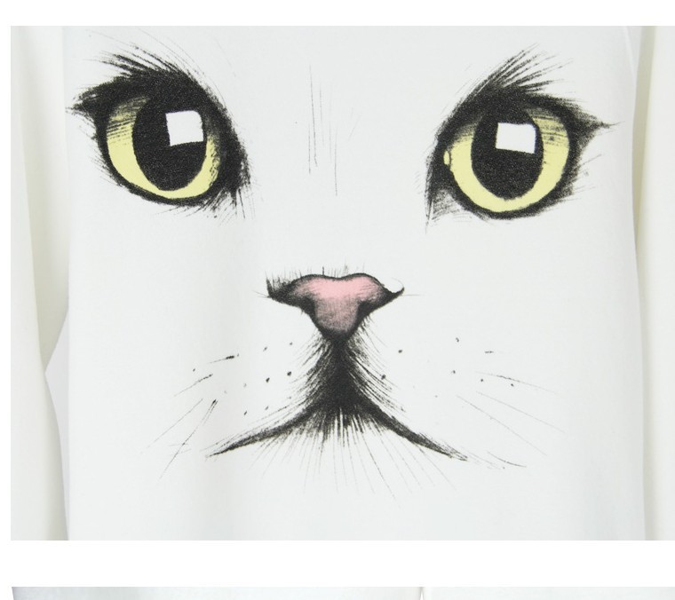 Free shipping  White cat eye pattern sweater NOTU1045-in Pullovers from Apparel & Accessories on Aliexpress.com