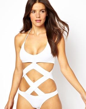 ASOS | ASOS Cross Strap Cut Out Swimsuit at ASOS