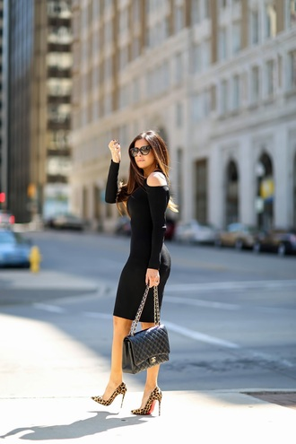 thesweetestthing blogger dress shoes sunglasses bag black dress off the shoulder bodycon dress bodycon black bag animal print long sleeves long sleeve dress
