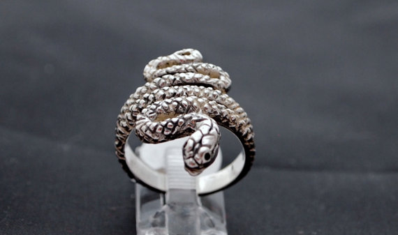 Coiled Snake Ring in Sterling Silver by LeDragonArgente on Etsy