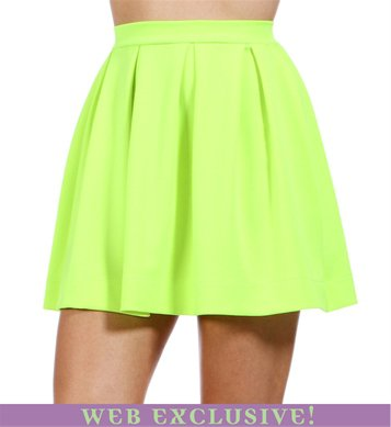 sophiaangelakissss's save of Neon Yellow Back Zipper Skirt on Wanelo