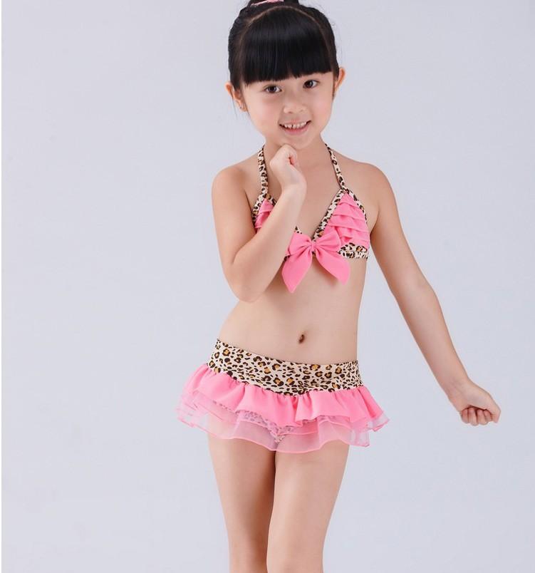 NEW 3pcs Girl Pink Leopard Tutu Bikini Swimsuit Swimwear Swimming Costume SZ 2 6   eBay