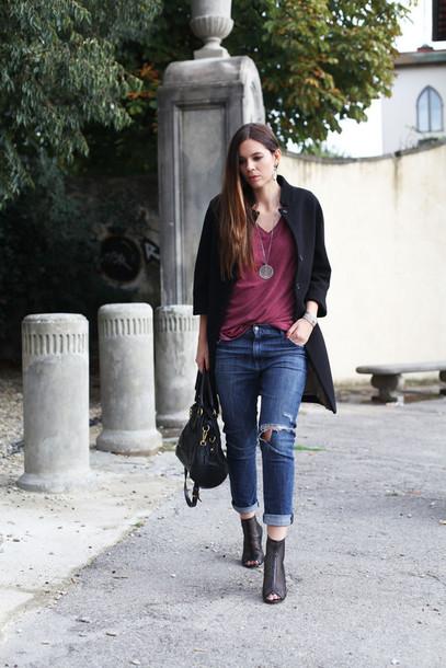 irene closet blogger bag t-shirt black coat peep toe boots ripped jeans coat