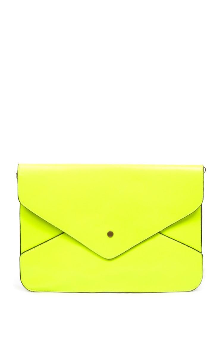 Stevie Neon Yellow Envelope Clutch Bag - bags - prettylittlething.com | PrettyLittleThing.com