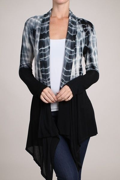 Long Cardigan Black and White Cardigan Tie Dye Soft Rayon Wrap Open Front S | eBay