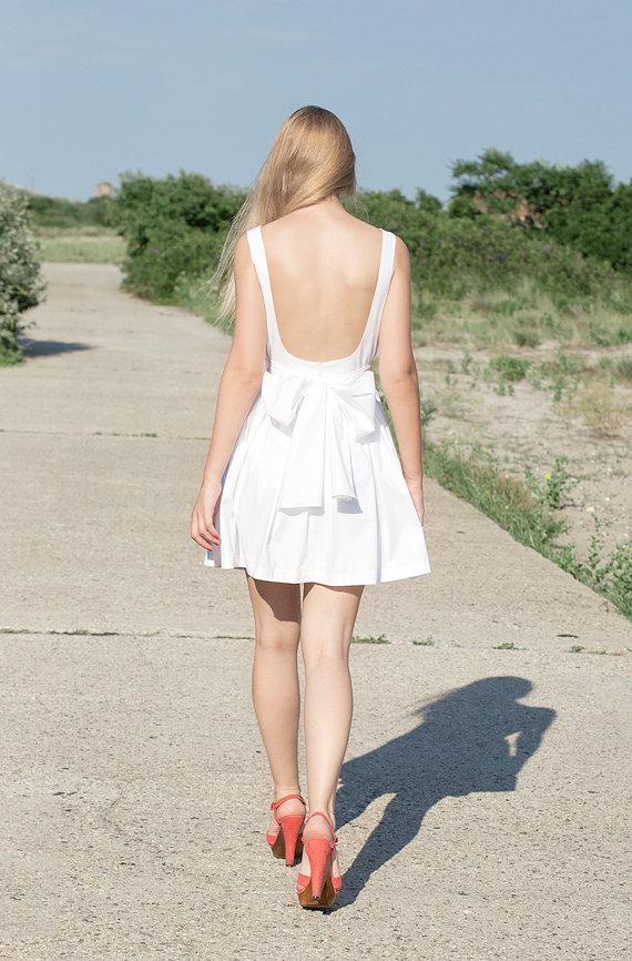 Backless Short Cotton Dress  More Colors by LanaStepulApparel