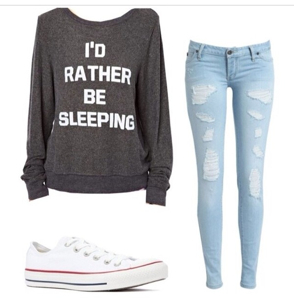 sweater jeans shirt