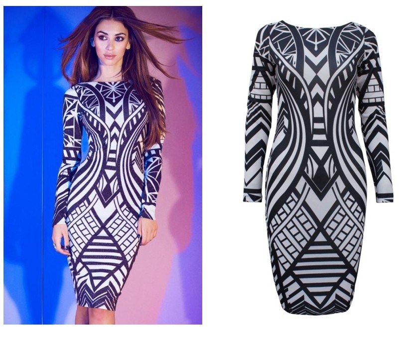 Aliexpress.com : Buy Free Shipping 2013 NEW arrvial Sexy backless geometric print long sleeve tight dress party dress from Reliable parties dress suppliers on ED FASHION