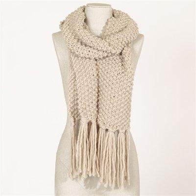Echarpe frangée beige - Collection Bonnet-écharpe-gants - Pimkie France