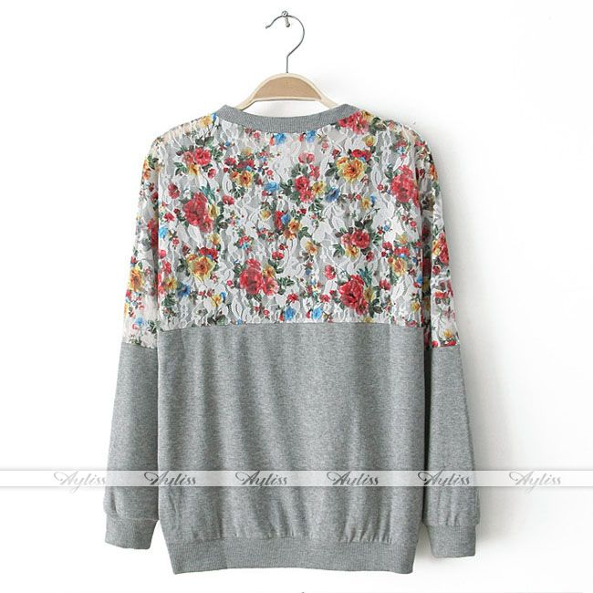 Fashion Long Sleeve Floral Flower Lace Loose Tee Shirt Jumper Top Blouse | eBay