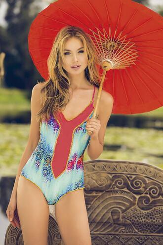 swimwear blue full coverage halter top mar de rosas swimwear monokini one piece swimsuit print racerback bikiniluxe