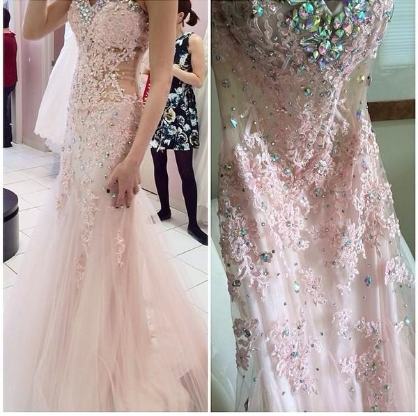 dress blush pink prom dress gown quincenera dress