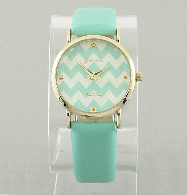 Mint & White Chevron Watch - Black & White Boutique LLP