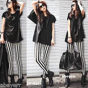 New Fashion Women's Slim Skinny Black White Stripe Leggings Stretchy Pants Pant | eBay