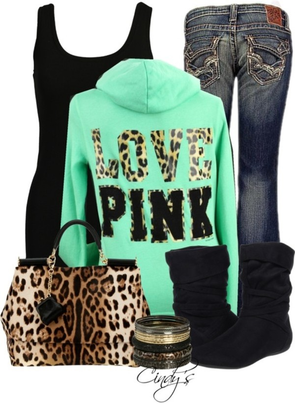 jeans clothes purse victoria's secret bag shoes pink by victorias secret jacket leopard print green