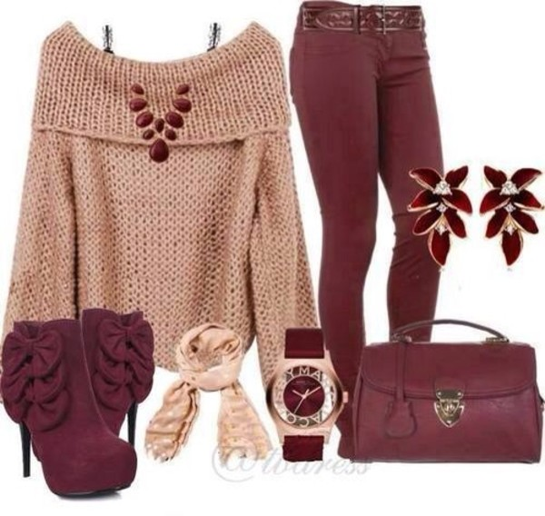 shoes burgundy skinny cute fall outfits style tan sweater indie heels bows shirt jeans