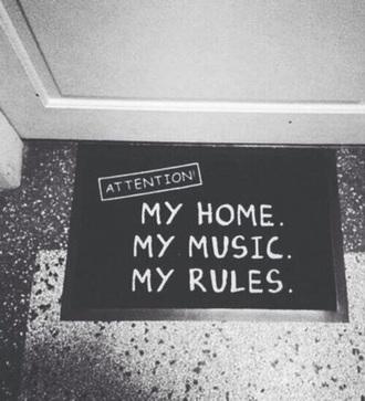home accessory doormat black white music home decor cool