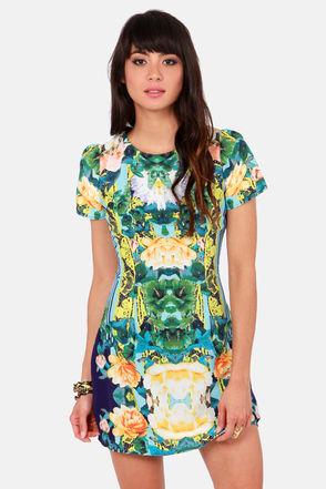 Pretty Floral Print Dress - Short Sleeve Dress - $53.00