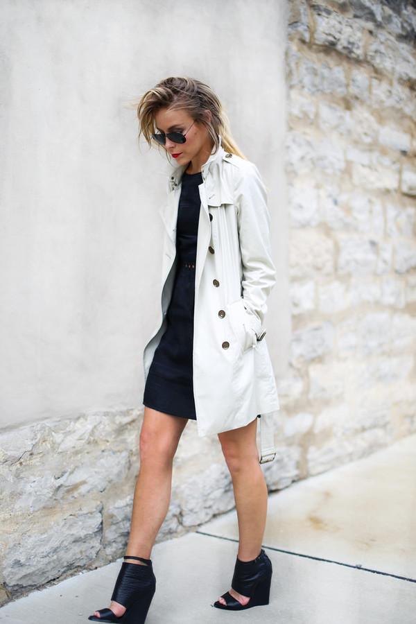 happily grey shoes sunglasses bag dress coat