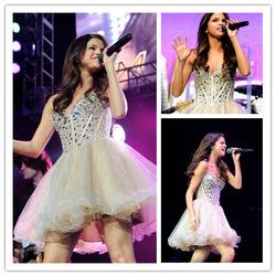 Plus récent court. mini robe de bal chéri cristal perlé corsage à volants. champagne. organza, selena gomez dans  de  sur Aliexpress.com