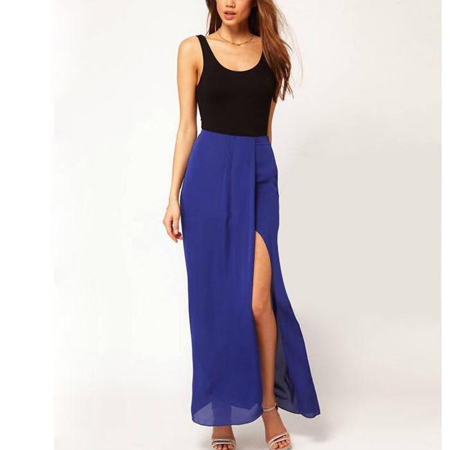 Size M Blue Chiffon Long Maxi Skirt BohoSexy Womens Open Side Split Dress O | eBay