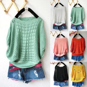 Fashion Ladies Casual Loose Batwing Sleeve Hollow Knit Sweater Cardigan Jumper* | eBay