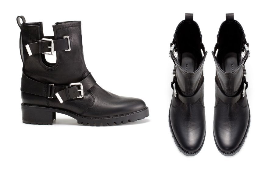 Woman Zara Cowboy Shoes Cow Leather Ankle Boots with Straps Heels Black New | eBay