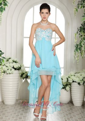 Aqua Blue Prom Dress Appliques High-low Layers - US$148.67