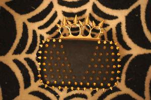 Spike Ring Pyramid Rivet Punk Box Clutch Knucklebox Duster Branded Chain Purse | eBay