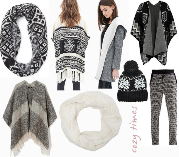 bekleidet blogger coat printed pants winter outfits pom pom beanie infinity scarf scarf hat pants