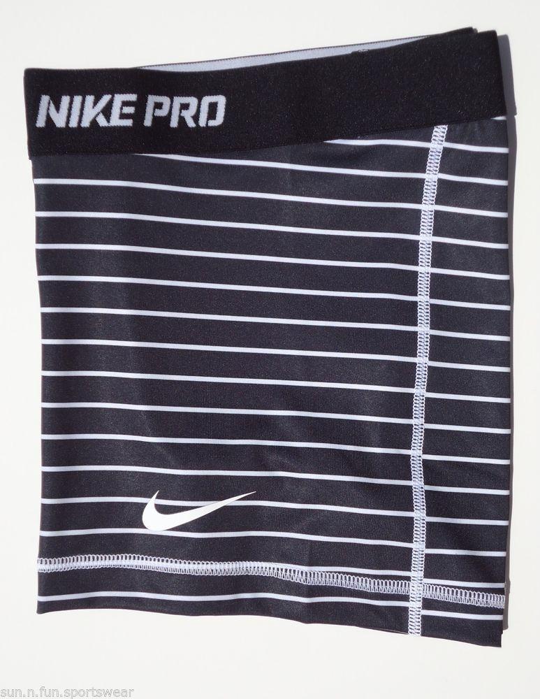 New Black White Stripe M Nike Pro Core Womens Dri Fit Compression Shorts Med   eBay