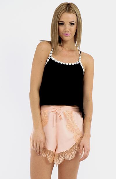 Borderline Lace Shorts - Peach | Sale | Peppermayo