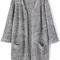 Grey long sleeve pockets knit cardigan -shein(sheinside)