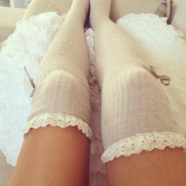 shoes white socks socks girly ribbons stockings knee high socks knee high socks