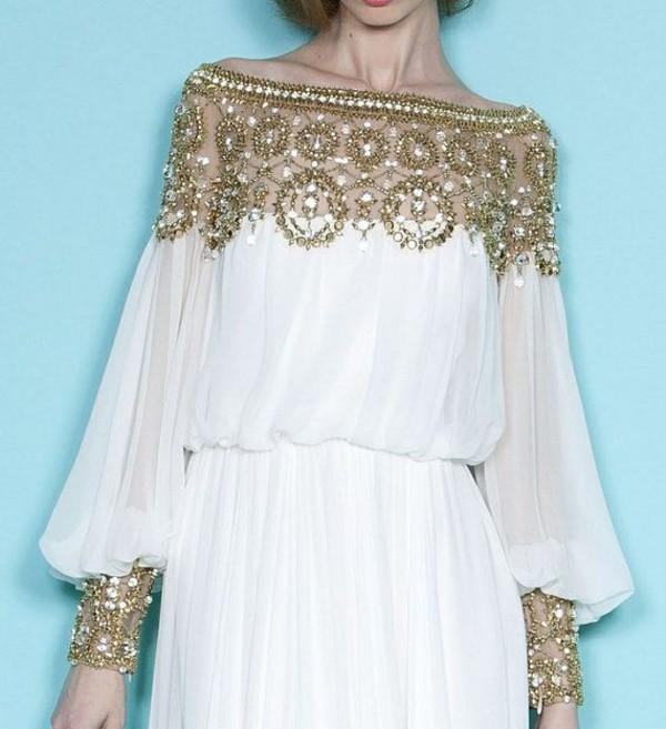 dress prom dress gold sequins crystal marchesa off the shoulder dress
