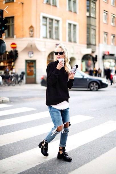 top sweater dope grunge black boots boots boyfriend jeans make-up