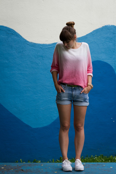 sweater pink dip dyed jumper zara ombre
