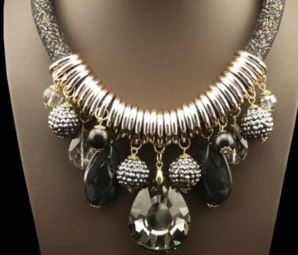 jewels gold silver crystal black necklace chain