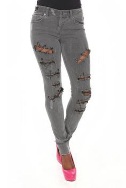 jeans grey skinny jeans safety pin